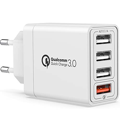 YEONPHOM Quick Charge 3.0 Cargador USB de Pared,30W QC3.0 4 Puertos Cargador Móvil Carga Rapida Multiple Enchufe Adaptador Corriente Rápido para iPhone 12/11/XR/XS/X,Samsung Galaxy/Note/Huawei/Xiaomi