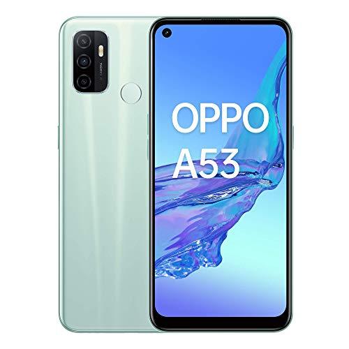 Oppo A53 – Pantalla de 6.5' (Neo-Display de 90Hz, 4GB/64 GB, Snapdragon 460, 5000mAh, Carga Rápida 18W, Triple Cámara con IA, Dual Sim) Mint Cream [Versión ES/PT]