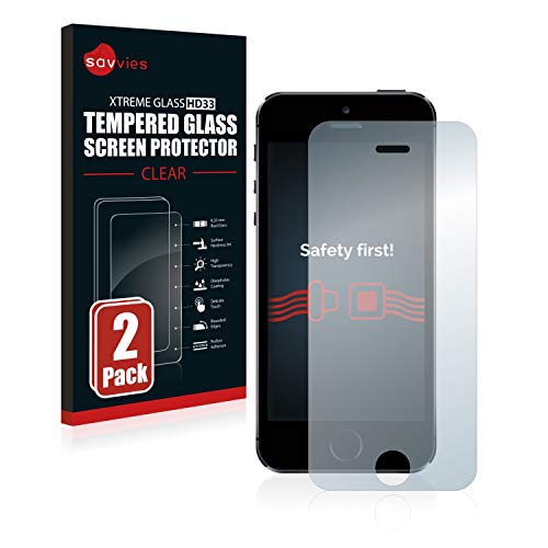 savvies Protector Cristal Templado Compatible con iPhone 5 / 5S / 5C / SE 2016 (2 Unidades) Protector Pantalla Vidrio, Protección 9H, Pelicula