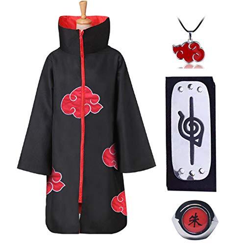 Amycute Akatsuki - Abrigo para niños y adultos, unisex, para cosplay, Halloween, Navidad, fiesta, disfraz, capa con cinta para la cabeza y anillo (talla XS)