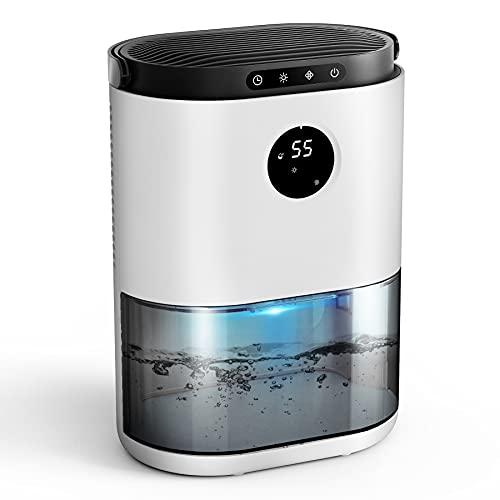 UGHEG Deshumidificador, 2.3L,Semiconductor Doble, Descongelación Automática, Ajuste de Tiempo, 7 Colores LED, Sensor de Humedad, Contra el Moho y la Humedad para Habitaciones, Hogares Armarios Garajes
