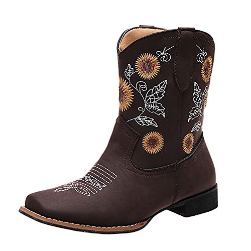 Briskorry Botines planos para mujer, botines de vaquero, ligeramente forrados, con tacón de embudo, bordados, estilo vintage, estilo occidental, modernos, de equitación, retro