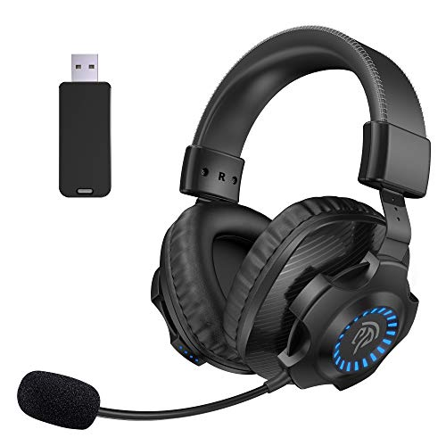 7.1 Auriculares Gaming Inalámbricos PS5 PS4, [Regalos] EasySMX 2.4G Cascos Gaming Inalámbrico 7.1 Sonido Estéreo con RGB Luz, Micrófono, Control de Volumen Para PC, MAC, PS5 y PS4, Headset Wireless