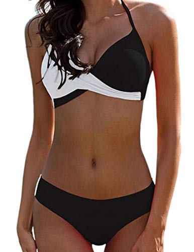 Bikini Elegante Traje de Baño Conjunto Bañador Halter Sexy Sólido para Mujer Ropa de Playa Traje de Baño Bikini Sets Talla Grande (Negro, M)