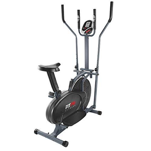 FITFIU Fitness BELI-120 - Bicicleta Elíptica con sillín regulable, multifunción modalidad Elíptica y Estática, disco inercia de 5kg, pantalla LCD y Pulsómetro, Bicicleta fitness Entrenamiento indoor