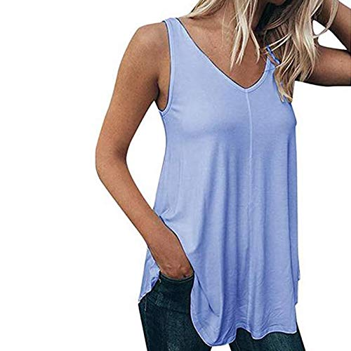 VEMOW Chaleco Camisola sin Mangas para Mujer Cuello en V, Camiseta de Tirantes Informal de Verano Camisetas Suelto Color Sólido Casual Camisa Tank Tops Deportivos(Azul,4XL)