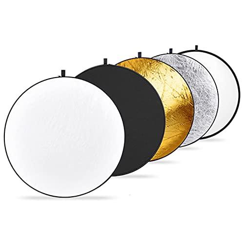 Neewer 110cm Reflector de Luz Multi-disco Plegable 5 en 1 con Bolsa Translúcido, Plateado, Dorado, Blanco y Negro para Fotografía de Estudio Iluminación e Iluminación Exterior