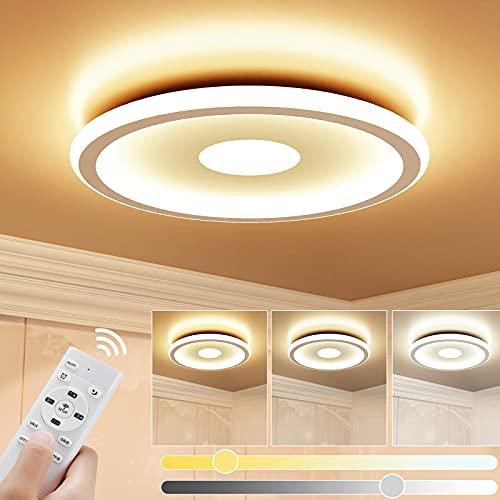 Plafon LED de Techo Regulable 24W, GolWof LED Lámpara de Techo con Mando a Distáncia Temperatura Regulable 3000K-6000K Plafón LED Luz de Techo para Salon Dormitorio Cocina Balcón Pasillo