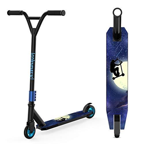 IMMEK Patinete Freestyle ABEC-9 Rodamientos, 2 Ruedas 100 mm Aluminio Núcleo de Rueda Scooter 360° Trucos y Saltos, Apto para Niños y Adolescentes Mayores de 6 Años Carga Máxima 100 kg (Azul Negro)