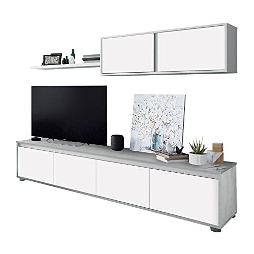 Habitdesign Mueble de Salon Moderno, Modulos de Comedor, Modelo Alida, Acabado en Blanco Artik y Gris Cemento, Medidas: 200 cm (Ancho) x 43 cm (Alto) 41 cm (Fondo)