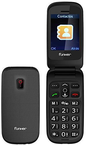 Funker F7 CLASSIC EASY, Teléfono Móvil para Personas Mayores Teclas Grandes con Tapa Pantalla 2,4 Pulgadas y Tecla de Emergencia botón SOS Cámara Fácil de Usar para Ancianos, Gris