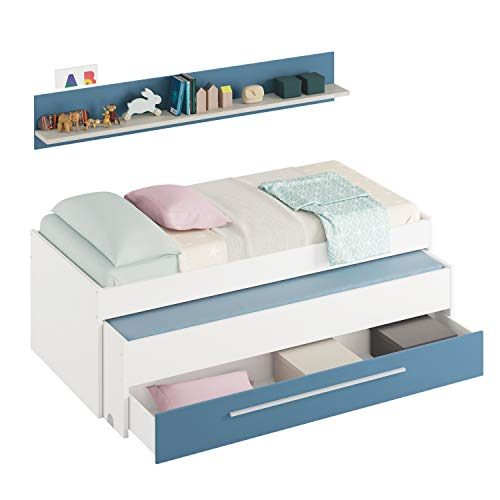 Habitdesign Cama Nido Juvenil, Dos Camas y Un Cajón,Modelo WIC, Acabado en Color Blanco Alpes y Azul, Medidas: 200 cm (Ancho) x 69 cm (Alto) x 96 cm (Fondo)