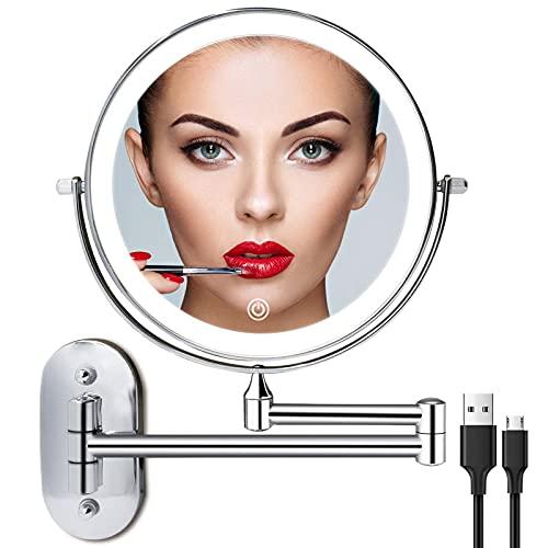 Recargable Espejo Maquillaje con Luz Aumento 1X / 10X, 8 Pulgad Baño de Pared Espejo Maquillaje con Regulable 3 Color Luces, Doble Cara Espejo Baño con 360 Rotación para Baño, Hotel (Plata)