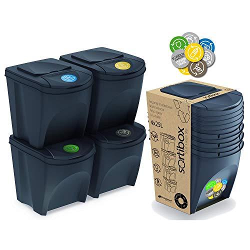 Prosperplast Juego de 4 cubos de reciclaje 100L Sortibox de plastico en color antracita, 4x25L