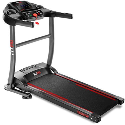 Fitfiu Fitness MC-200 - Cinta de correr plegable con velocidad hasta 14 km/h, superficie de carrera de 40 x 110 cm, motor de 1500W, pantalla LCD, pulsómetro y sistema de paro de emergencia