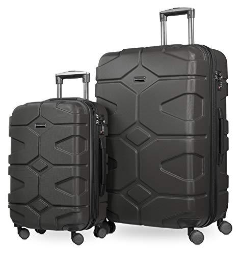 HAUPTSTADTKOFFER - X-Kölln - Juego de 2 Trolleys 55+76 cm, maletas expandibles, TSA, Grafito
