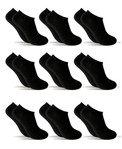 POPYS Calcetines cortos para hombre y mujer - calcetines tobillero 9 Pares Negro 40-46