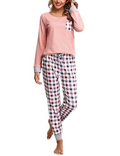 Pijamas Mujer Conjunto de Pijama a Cuadros para Dama Pjs Top Ropa de Dormir Camisa y Pantalones con Bolsillo Manga Larga Soft Lounge Sets Ropa de Cama Loungewear (B# Rosa, 2XL)