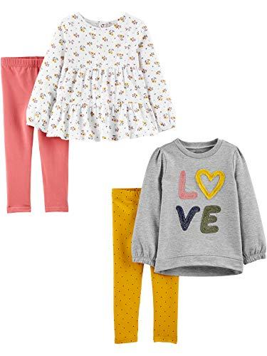 Simple Joys by Carter's 4-Piece Long-Sleeve Shirts and Pants Playwear Set Conjunto de Pantalones, Floral/Amor, 18 Meses, Pack de 4