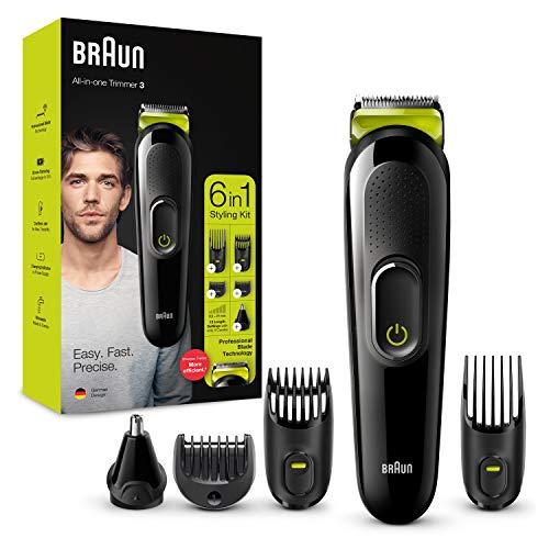 Braun Recortadora de Barba 6 en 1, Máquina Cortar Pelo, Cortapelos Nariz, Facial, MGK 3221, Verde Eléctrico