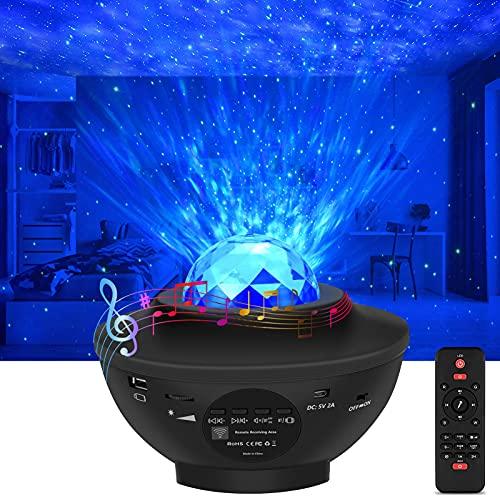 Proyector de Luz Estelar, Rigiyoo LED de Luz Nocturna Giratorio con 21 modos & Bluetooth, Lámpara de Nocturna Estrellas y Océano, Proyector LED Color Reproductor de Música con Remoto/Temporizador