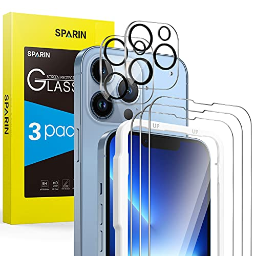 SPARIN 3 Pack Protector de Pantalla Compatible con iPhone 13 Pro 6,1 Pulgadas con 2 Pack Protector de Lente de Cámara, Cristal Templado con Marco de Alineación, Protección de la Cámara