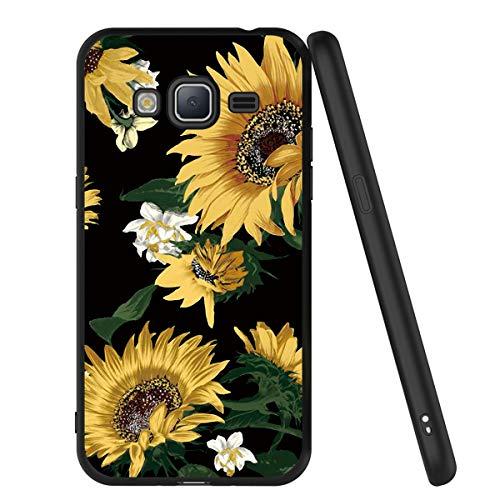 Yoedge Funda Samsung Galaxy J3 2016, Ultra Slim Cárcasa Silicona Negro con Dibujos Animados Diseño Patrón 360 Bumper Case Cover para Samsung Galaxy J3 2016, Girasol