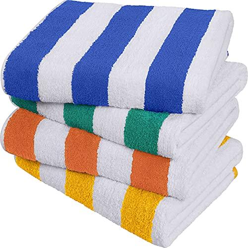 Utopia Towels - Toalla de piscina grande con toalla de playa en Cabana Stripe, paquete de 4, 100% algodón, cuidado fácil, máxima suavidad y absorbencia 76 x 152 cm (30 X 60 Inch)