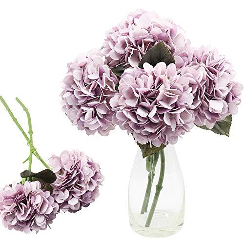 CattleyaHQ 4 Cabezas de Flores Artificiales de Hortensia, Elegante Ramo de hortensias, decoración de Flores Falsas para Fiesta / Boda / hogar / Cocina (Púrpura)
