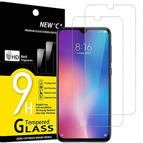 NEW'C 2 Unidades, Protector de Pantalla para Xiaomi Mi 9 SE, Mi Play, Antiarañazos, Antihuellas, Sin Burbujas, Dureza 9H, 0.33 mm Ultra Transparente, Vidrio Templado Ultra Resistente