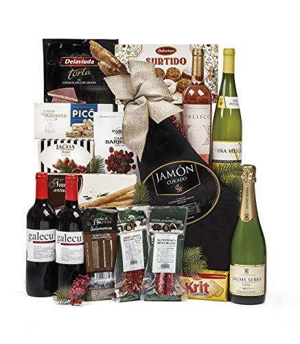 Sadival Cesta de Navidad con Jamón De Jabugo, ibéricos y gran variedad de turrores y dulces