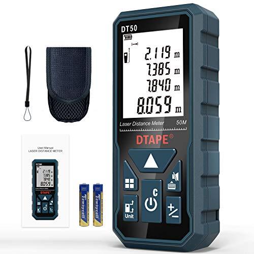 Medidor Láser, DTAPE DT50 Medidor de Distancia Láser 50M / 165 pies, Medidor de Presión Portátil Herramienta de Medición de Flujo digital, Pantalla LCD Retroiluminada más Grande de 4 Líneas IP54