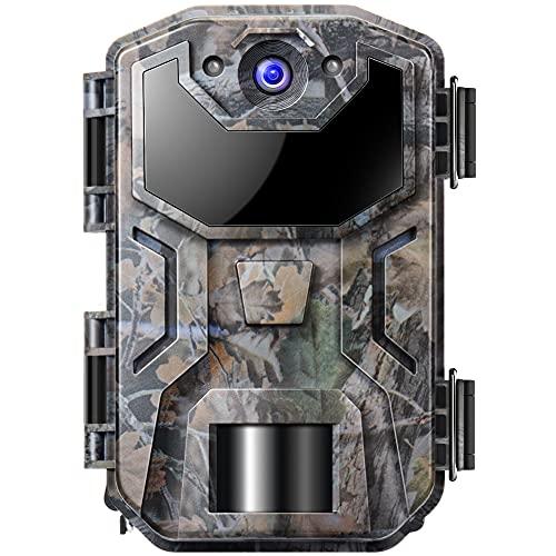 Govicture Cámara de Caza Nocturna 20MP 1080P con Diseño Impermeable IP66 Cámara de Fototrampeo con Detección de Acción LED IR Sin Brillo para Sequimiento Caza de Fauna