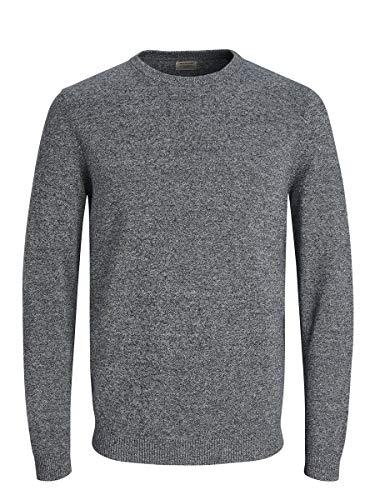 Jack & Jones Jjebasic Knit Crew Neck Noos suéter, Azul (Navy Blazer Detail: Twisted with Jet Stream), Large para Hombre