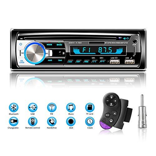 Radio en Coche Autoradio Bluetooth Manos Libres, Lifelf Radio 1 DIN Estéreo 4 x 65 W Receptor de Radio para Coche con Reproductor de MP3, Control Remoto WMA FM, Dos Puertos USB (No RDS/CD/DVD)