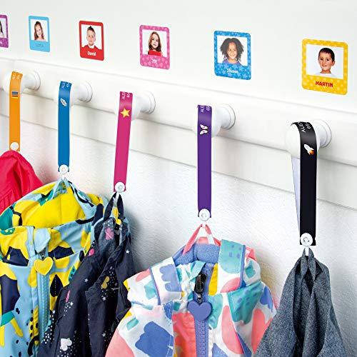 Cintas personalizadas para colgar la ropa de los niños sin coser (6 uds) Stikets