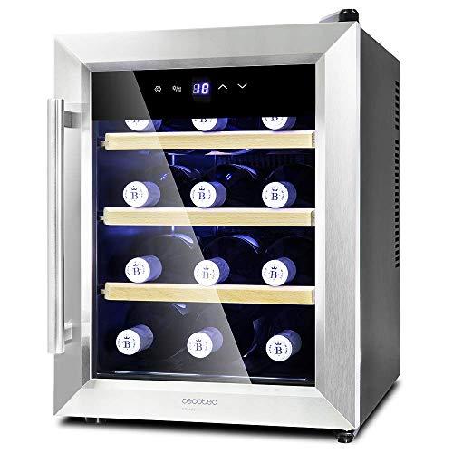 Cecotec Vinoteca Grand Sommelier 1200 CoolWood. 12 Botellas, Capacidad de 33L, Diseño Puerta de Cristal con Marco de Acero Inoxidable y estantes en Madera, Panel táctil y Pantalla LED