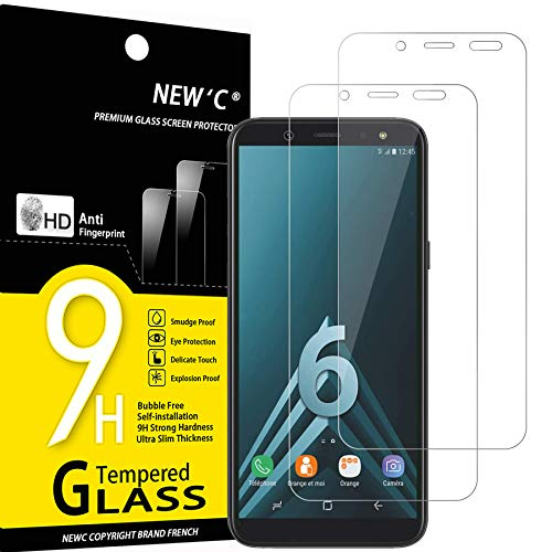 NEW'C 2 Unidades, Protector de Pantalla para Samsung Galaxy A6 (SM-A600F), Antiarañazos, Antihuellas, Sin Burbujas, Dureza 9H, 0.33 mm Ultra Transparente, Vidrio Templado Ultra Resistente