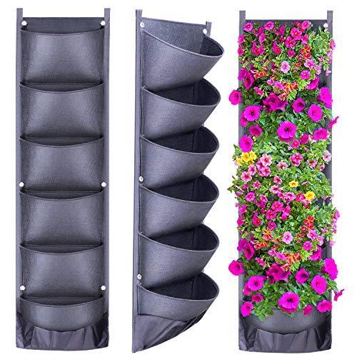 Wisolt Nueva Jardinera Vertical de jardín Vertical más Profunda y más Grande con 6 Bolsillos Colgantes para jardín Decoración de hogar