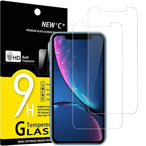 NEW'C 2 Unidades, Protector de Pantalla para iPhone 11 y iPhone XR (6.1'), Antiarañazos, Antihuellas, Sin Burbujas, 9H, 0.33 mm, Vidrio Templado Ultra Resistent y Transparent