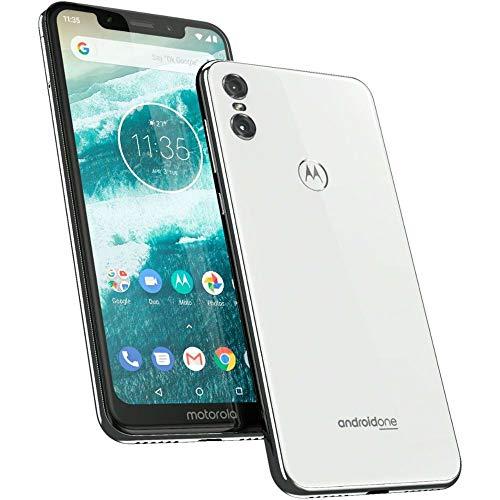 Motorola One - Smartphone Android One (pantalla de 5.9'' ratio 19:9, cámara dual de 13 MP, 4 GB de RAM, 64 GB, Dual Sim), color blanco [Versión española]