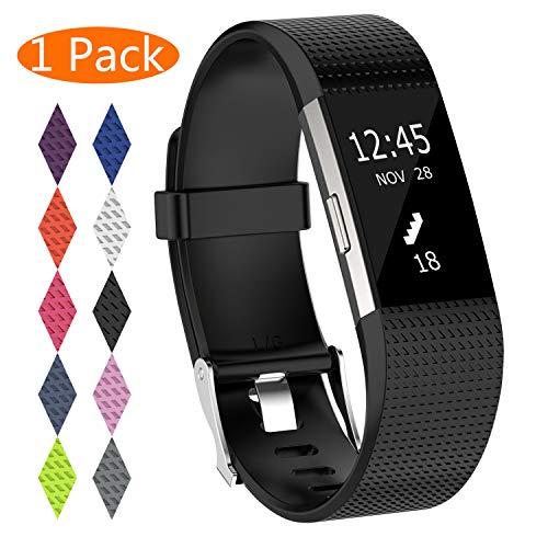KingAcc Correa para Fitbit Charge 2, Silicona Suave Pulsera de Respueto con Hebilla de Metal Compatible con Fitbit Charge 2 smartwatch