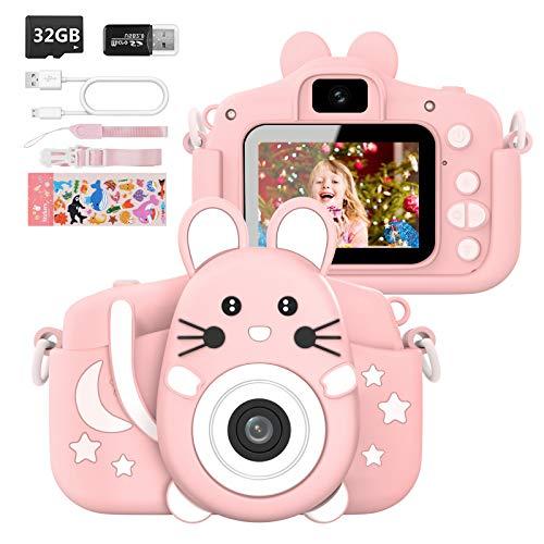Hangrui Cámara Digital para Niños,Cámara Fotos Infantil con 32GB TF Tarjeta,Pantalla de Protección Ocular IPS de 1080P 2,0' HD Selfie Video Cámara Fotos Niños Regalos para Niños y niñas(Rosado)