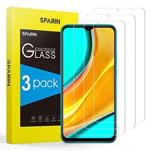 SPARIN Protector de Pantalla Compatible con Xiaomi Redmi 9, Cristal Templado de Alta Definición, 3 Piezas