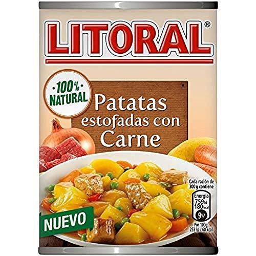 LITORAL Guiso de Patatas Estofadas con Carne - Plato Preparado Sin Gluten - Paquete de 10x420g - Total: 4.2 kg