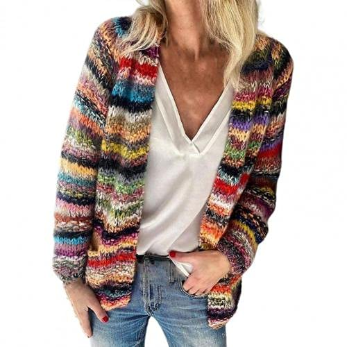 Suéter para mujer con rayas de arco iris, temperamento, otoño, invierno, manga larga, chaqueta de punto para oficina y ropa de mujer 2021 xxxl (color: rojo, tamaño: XL)