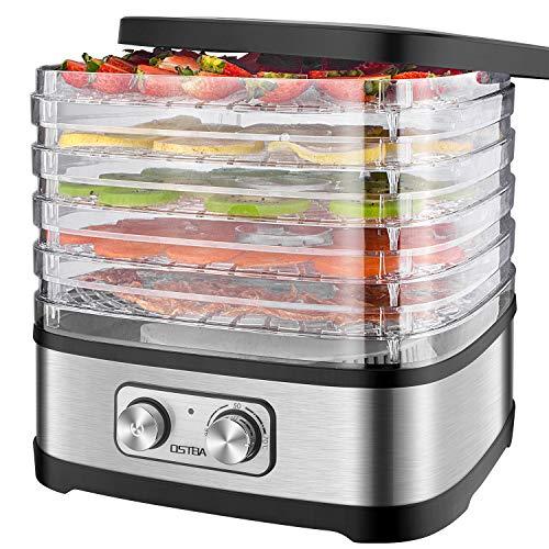 Deshidratador de Alimentos 240W OSTBA, Deshidratadora de Frutas con 5 Bandejas Altura Regulable, Pantalla LCD, emporizador y temperatura regulable Deshidratador de Frutas, Vegetales, Carne, Sin BPA