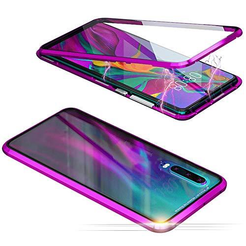 Jonwelsy Funda para Xiaomi Mi 9 Pro, Adsorción Magnética Parachoques de Metal con 360 Grados Protección Case Cover Transparente Ambos Lados Vidrio Templado Cubierta para Xiaomi Mi 9 Pro (Morado)