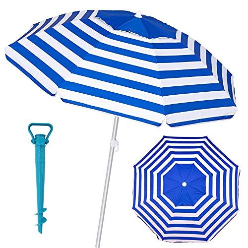 Pack sombrilla de Playa antiviento de Ø 220 cm Azul de Aluminio y Fibra Vidrio, con Soporte de Arena - LOLAhome