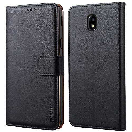 Peakally Funda Samsung Galaxy J5 2017, Premium Cuero Fundas para Samsung Galaxy J5 2017 [Stand Function] [Ranuras para Tarjetas] Piel PU Carcasa Case con Concha Interna Suave 5.2'-Negro
